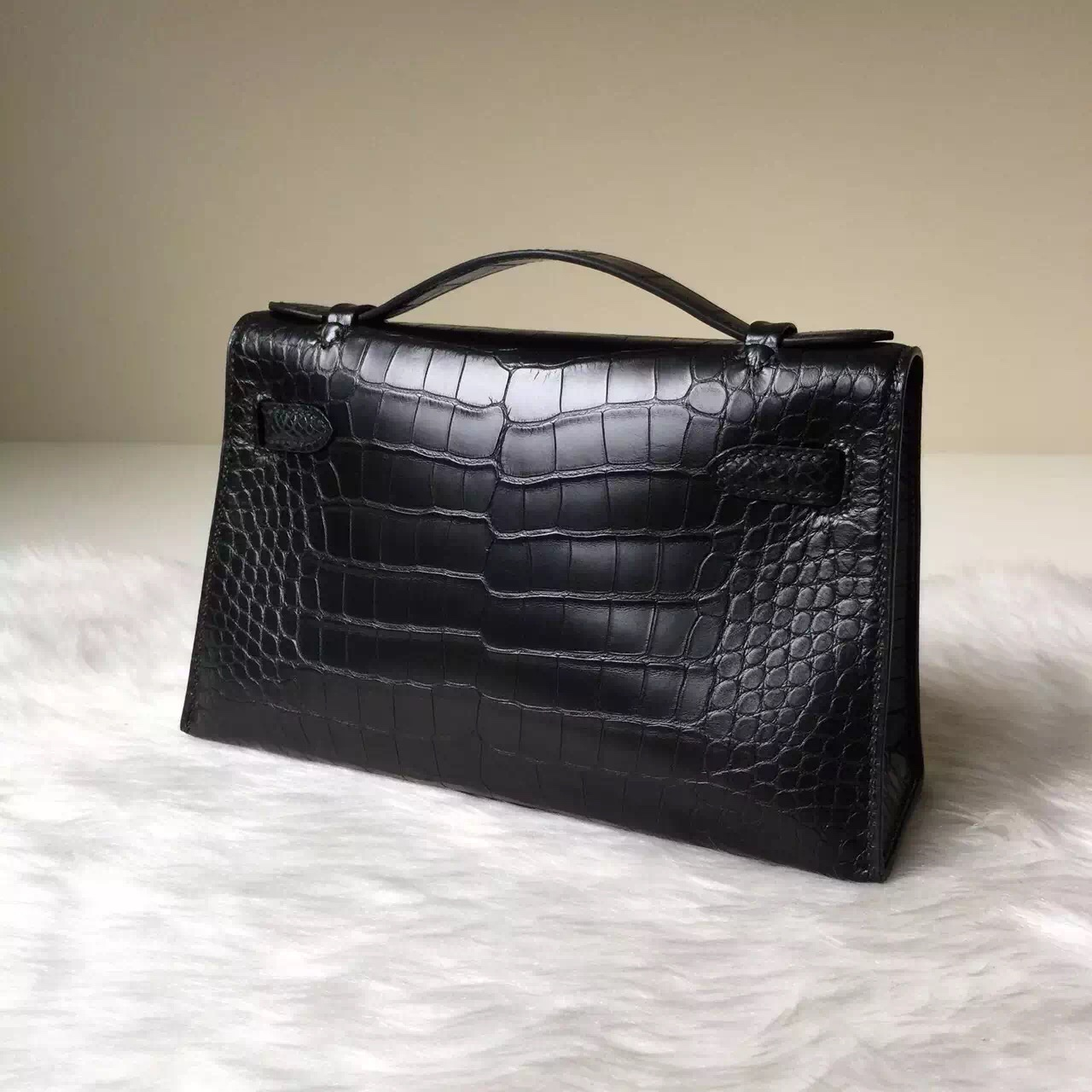 Sale Hermes CK89 Black Crocodile Matt Leather MiniKelly Bag 22cm