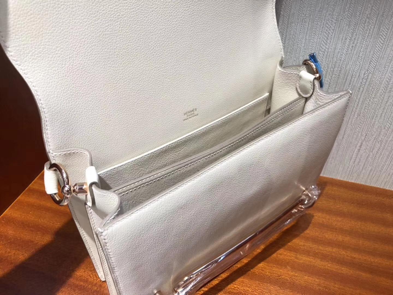 Fashion Hermes Evecolor Roulis24CM Shoulder Bag in CK10 Craie Rose Gold Hardware