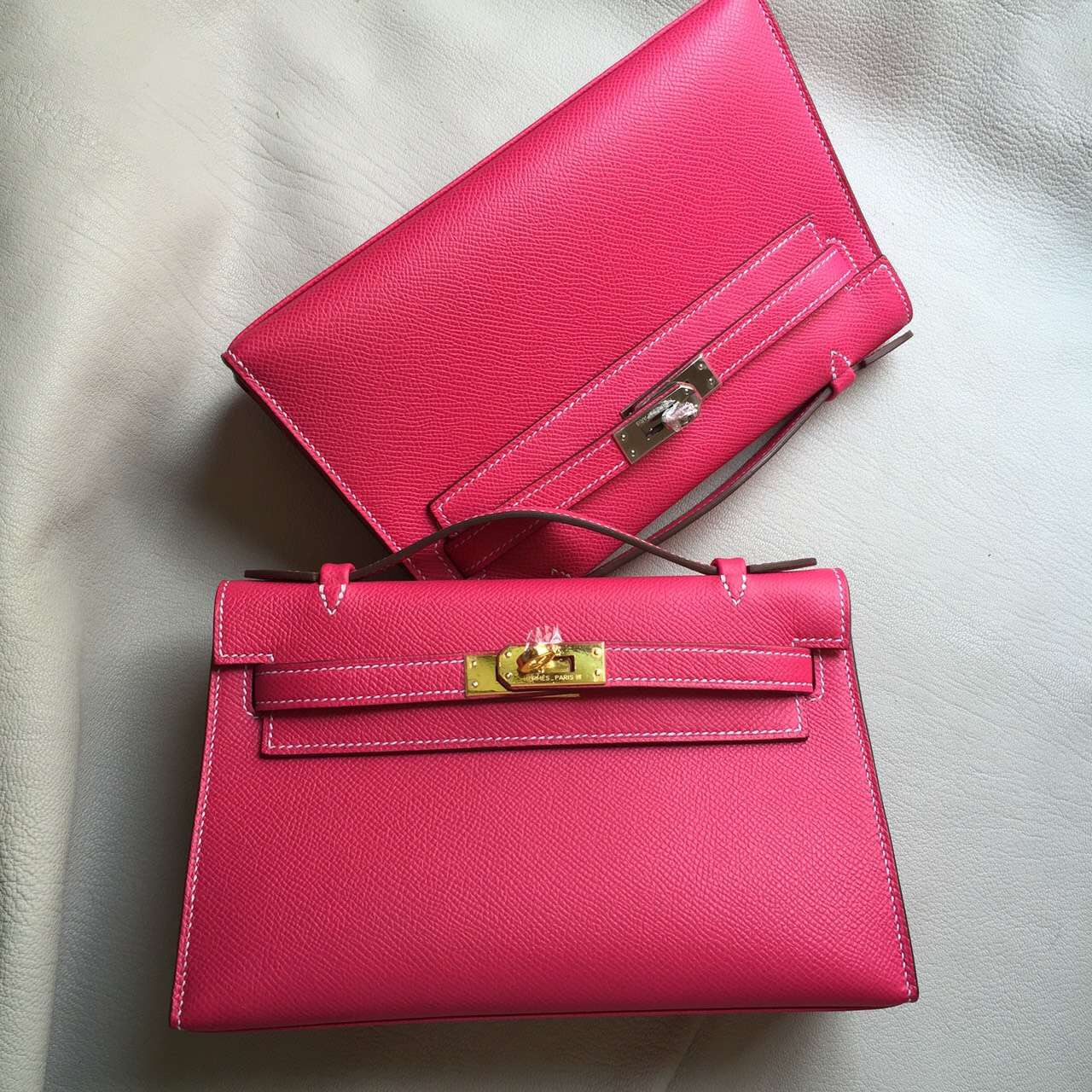 Sale Hermes Epsom Calfskin Leather Mini Kelly Bag22cm in E5 Rose Tyrien