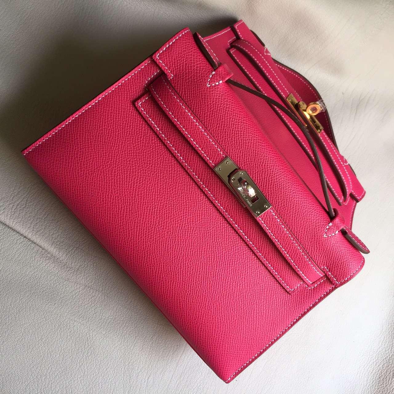 Sale Hermes Epsom Calfskin Leather Mini Kelly Bag22cm in E5 Rose Tyrien