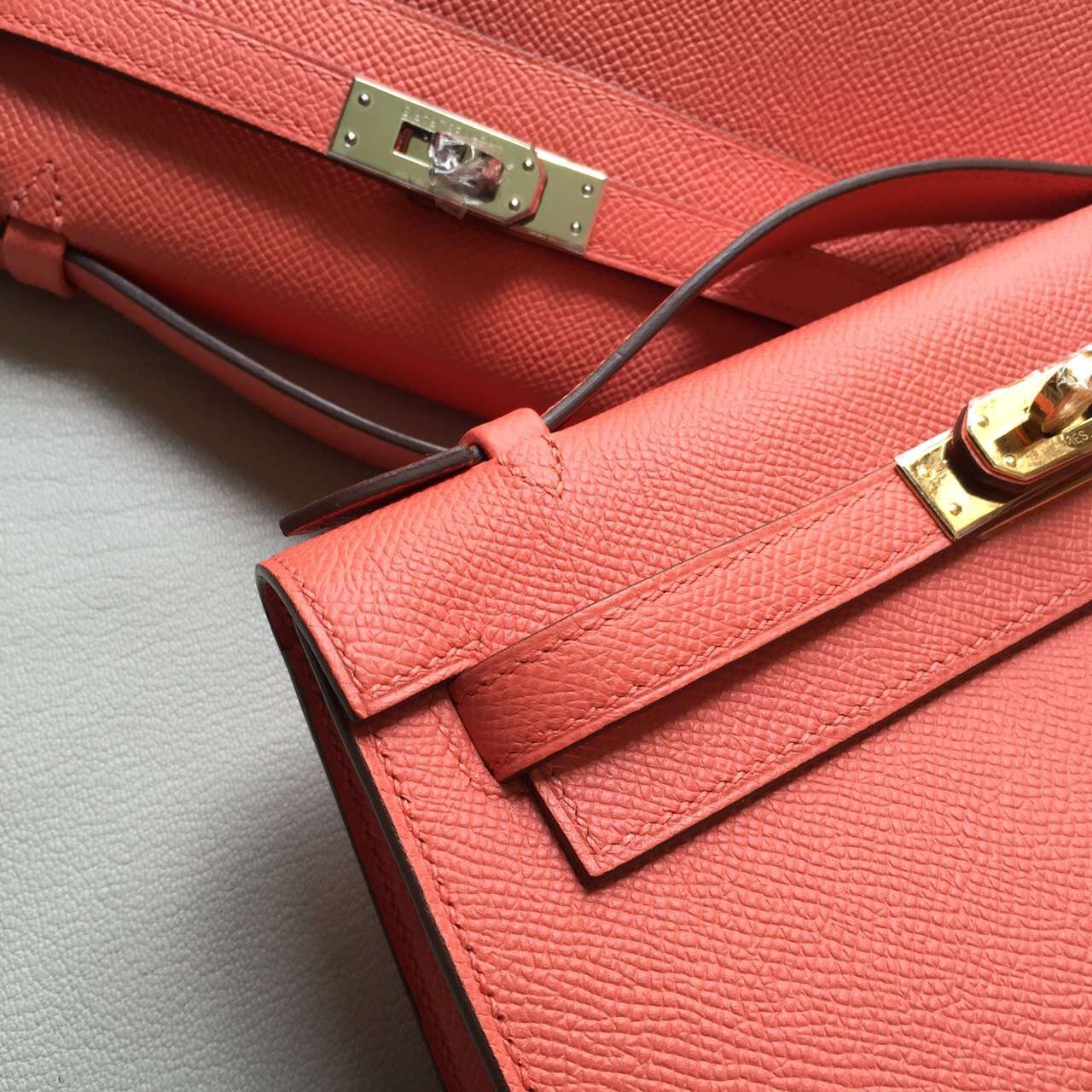 Hand Stitching Hermes T5 Rose Jaipure Epsom Leather Mini Kelly22cm