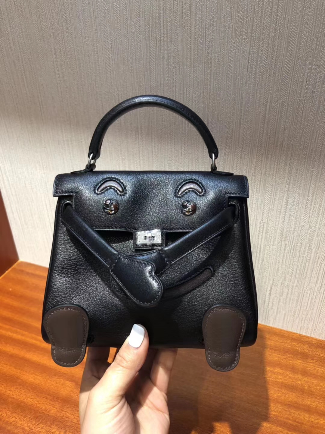 New Arrival Hermes Black & Coffee Calf Leather Kell Doll Tote Bag Silver Hardware