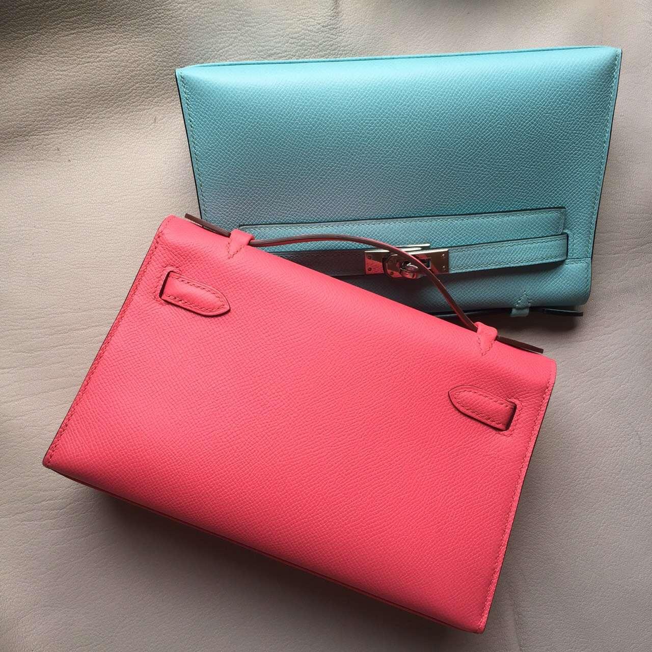Discount Hermes 8W Rose Lipstick & 3P Lagon Blue Mini Kelly Bag22cm