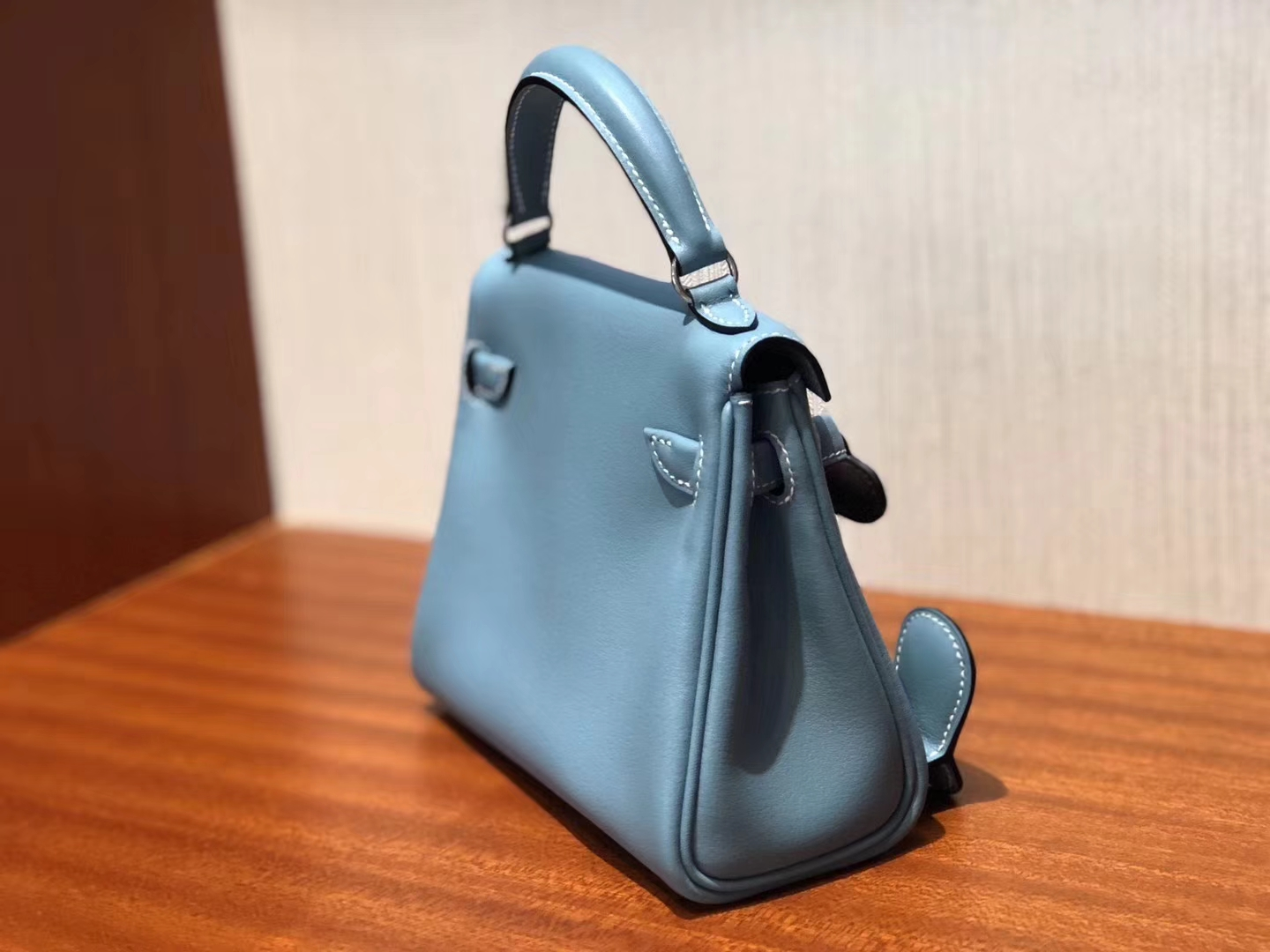Lovely Hermes Calf Leather Kell Doll Tote Bag in Blue Jean Silver Hardware