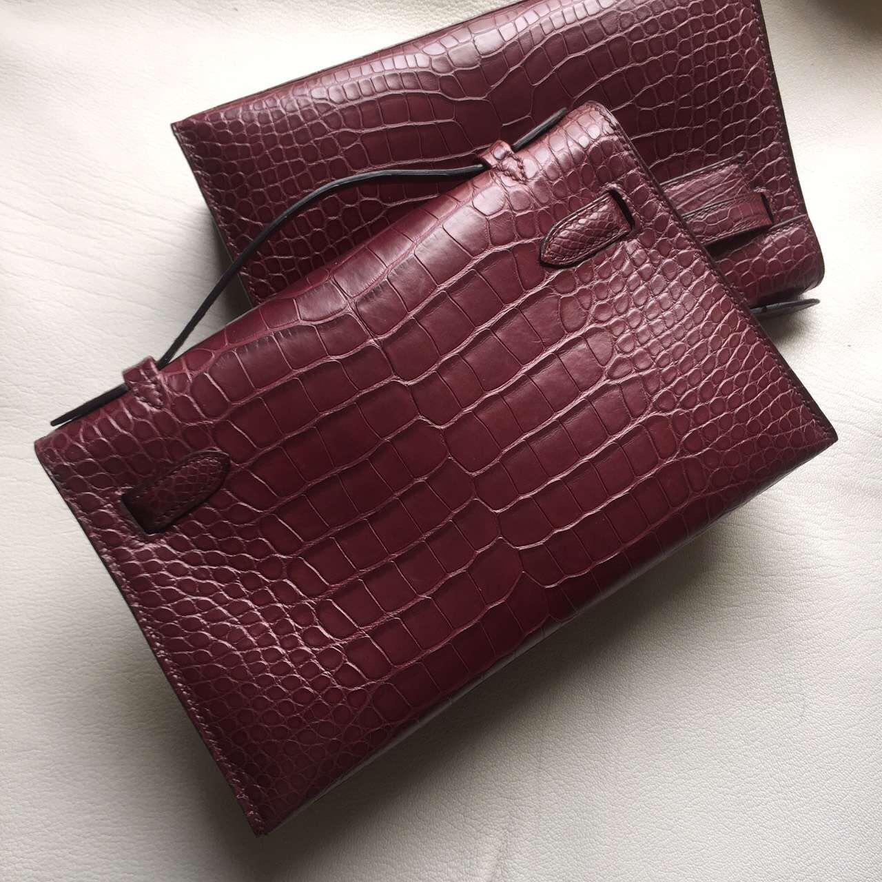 Wholesale Hermes Wine Red Crocodile Matt Leather Mini Kelly Clutch Bag
