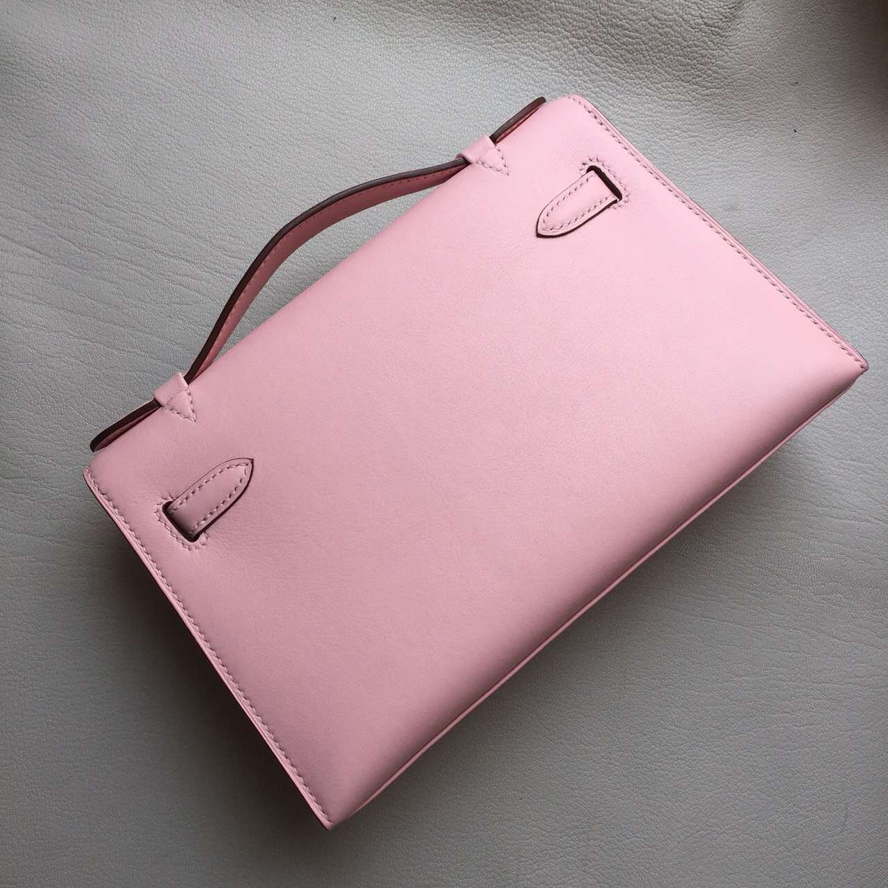 Hot Sale Hermes Swift Leather Mini Kelly Clutch Bag22cm in New Pink