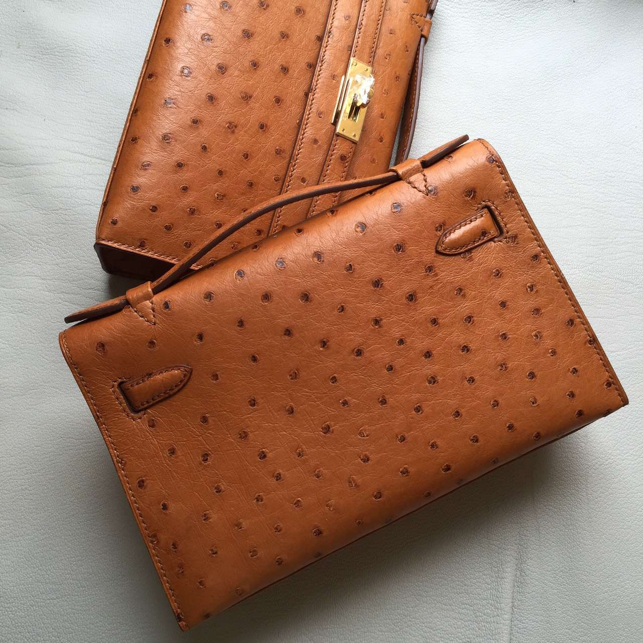 New Hermes Brown Ostrich Leather Mini Kelly Bag 22CM Women's Clutch