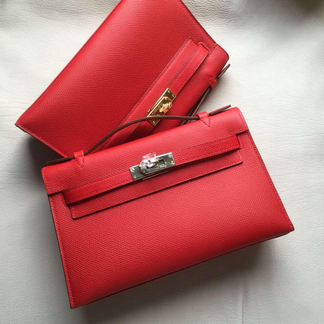 Cheap Hermes Mini Kelly Q5 Rouge Casaque Epsom Leather Clutch Bag22cm