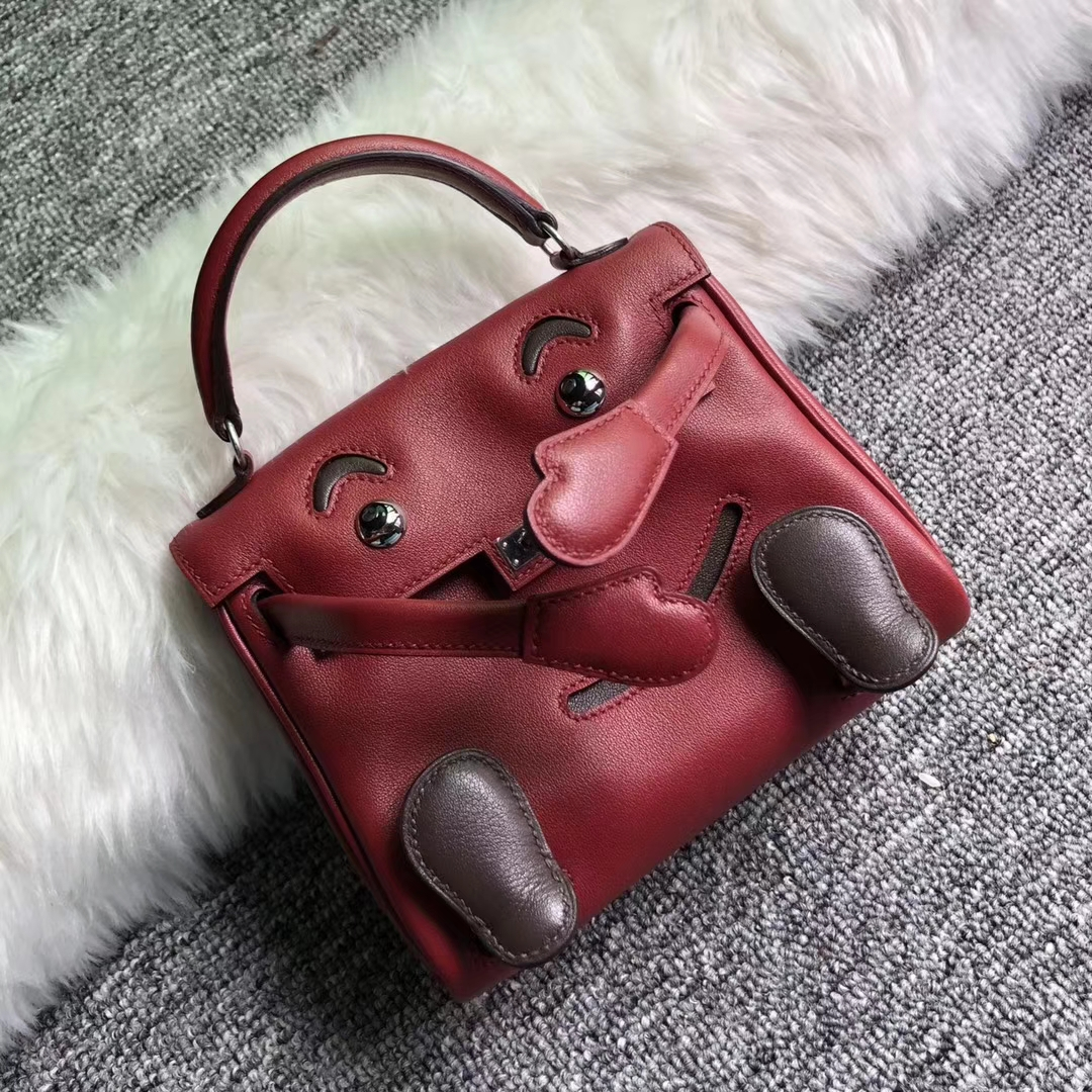 New Fashion Hermes Rouge Grenade/Coffee Swift Calf Kelly Doll Bag Silver Hardware