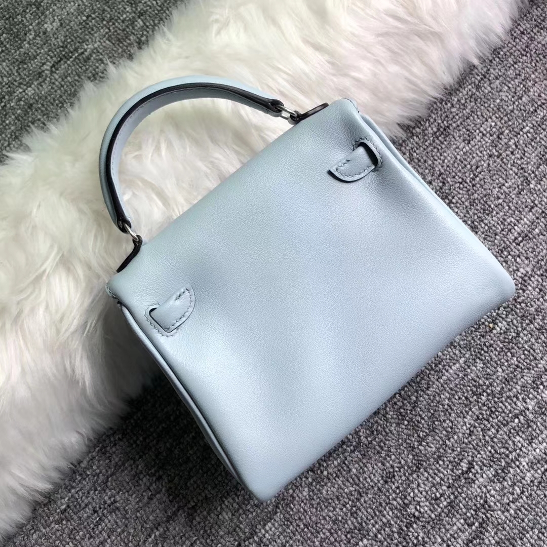 Pretty Hermes Kelly Doll Bag Blue Breeze/Blue Prussia Swift Calf Leather Silver Hardware