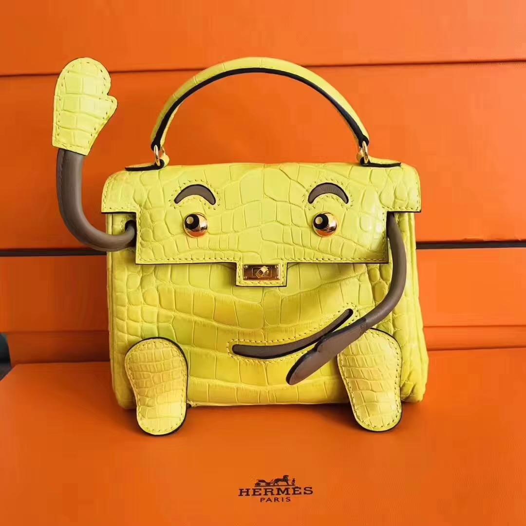 Fashion Hermes Matt Crocodile Leather Kelly Doll Women's Tote Bag