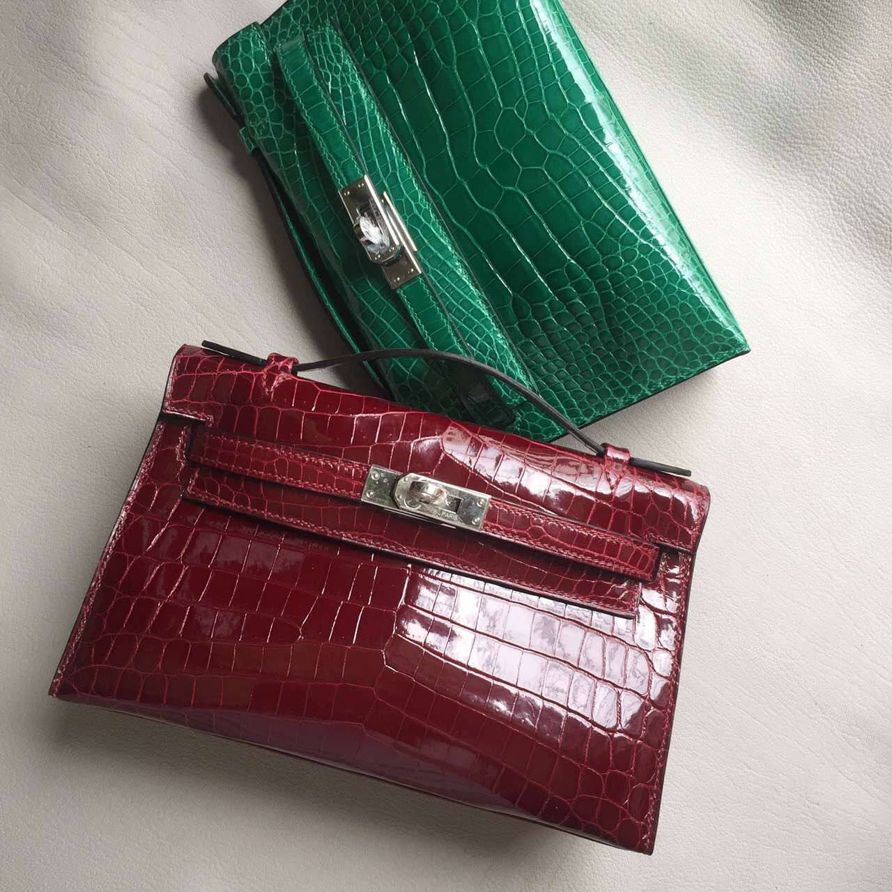 Wholesale Hermes Clutch F5 Bourgogne Red Crocodile Leather Mini Kelly Bag