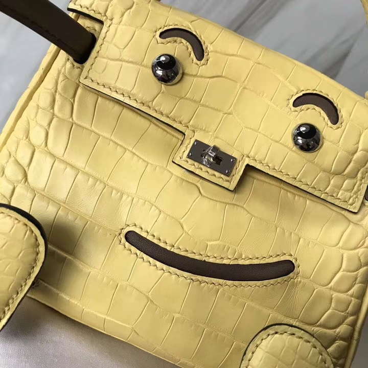 Lovely Hermes Soupre Yellow Matt Crocodile Leather Kelly Doll Tote Bag Silver Hardware