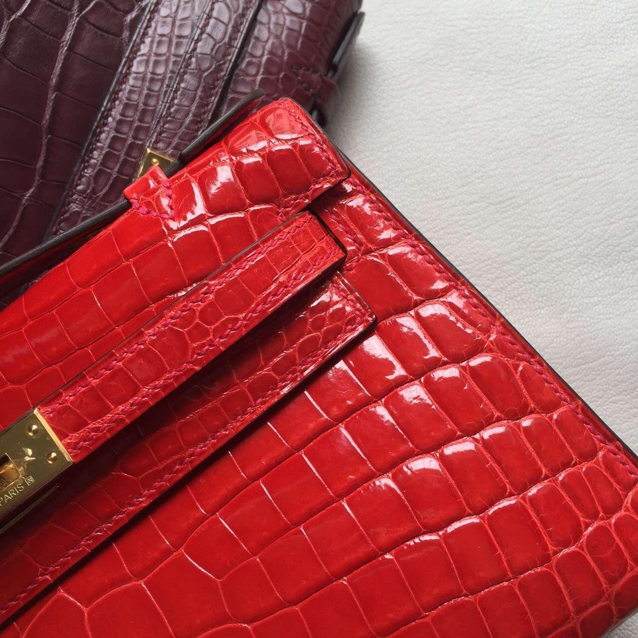 Luxury Hermes Mini Kelly22CM Ferrari Red Crocodile Shiny Leather Clutch Bag