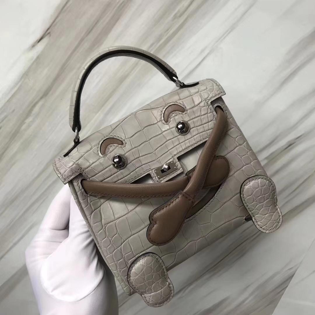 Lovely Hermes CK80 Gris Pearl Matt Crocodile Kelly Doll Bag16CM Silver Hardware