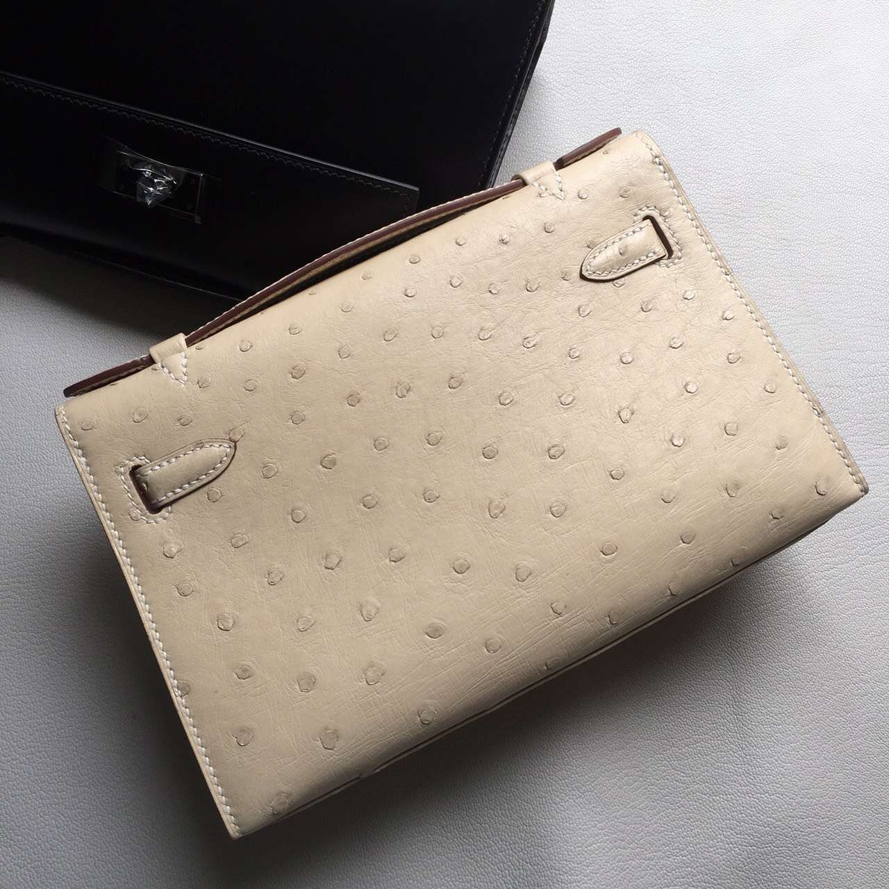 Discount Hermes Minikelly22cm 3C Wool White Ostrich Leather Silver Hardware