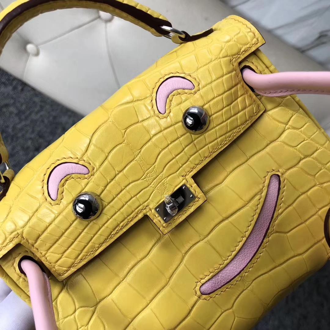 Lovely Hermes 9R Lemon Yellow/3Q Pink Matt Crocodile Kelly Doll Bag16CM Silver Hardware