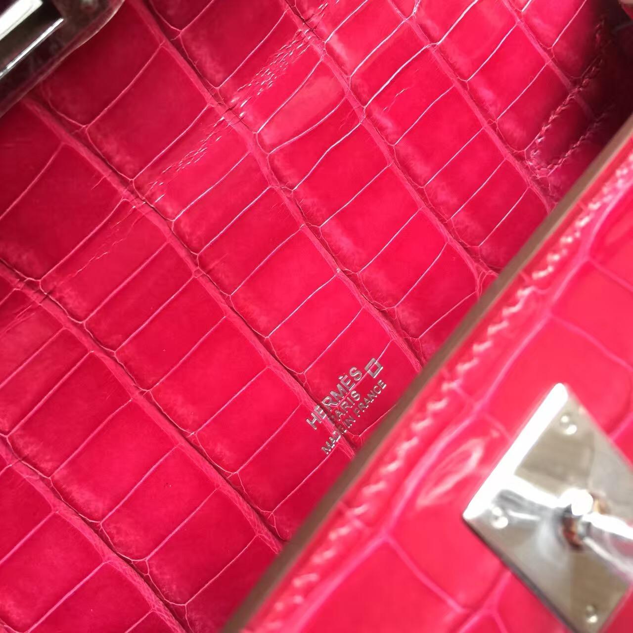 Hermes 5J Rose Scheherazade Crocodile Shiny Leather Mini Kelly Bag 22CM