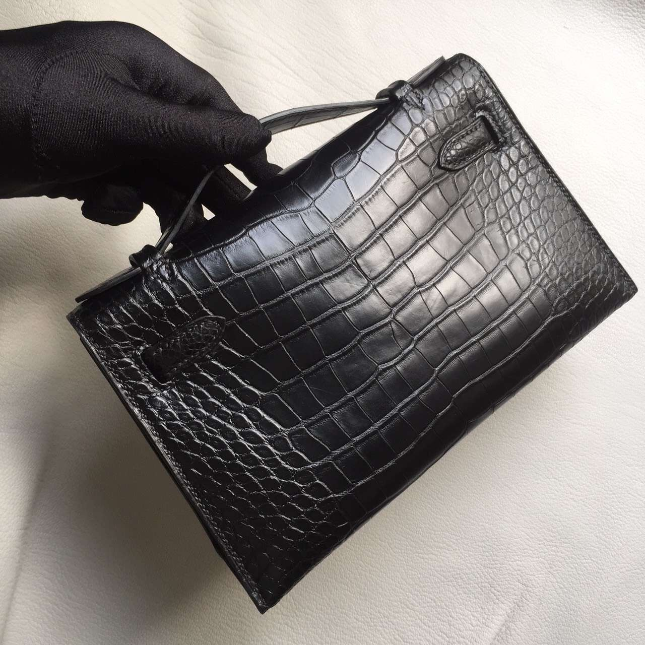 Discount Hermes Crocodile Matt Leather Mini Kelly Clutch Bag in CK89 Black