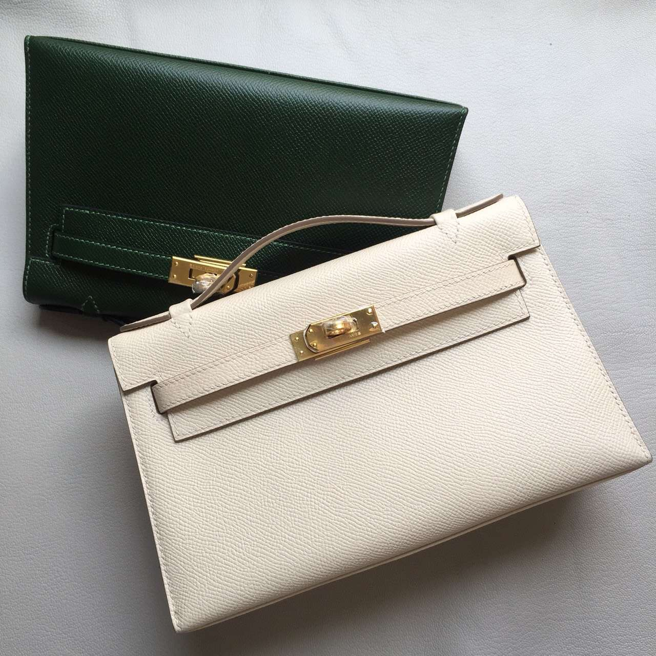 Hand Stitching Hermes CK10 Carie White Epsom Leather Minikelly Pochette 22CM