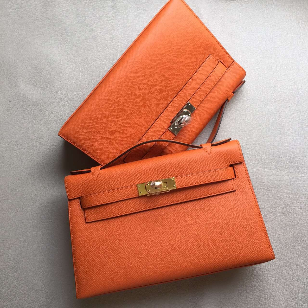 Discount Hermes Epsom Leather Minikelly Clutch Bag 22cm in  93 Orange