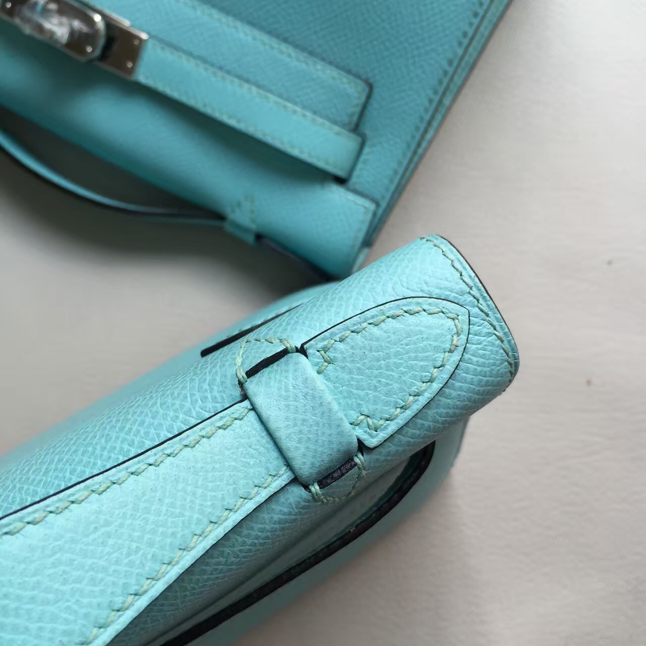 Wholesale Hermes 3P Blue Attol Epsom Calf Leather Minikelly22cm Clutch