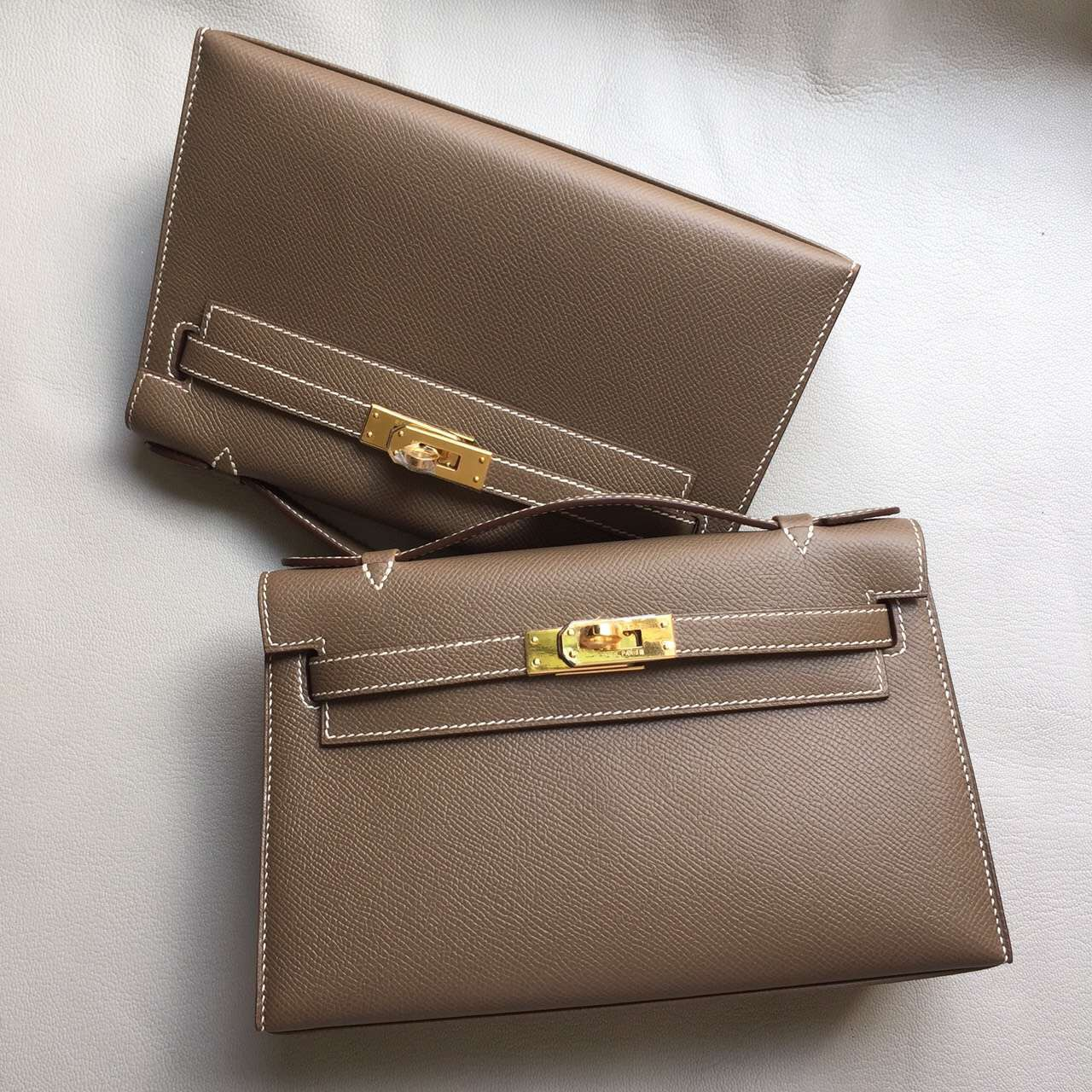 Cheap Hermes Minikelly Pochette Bag 22CM C81 Etoupe Grey Epsom Leather