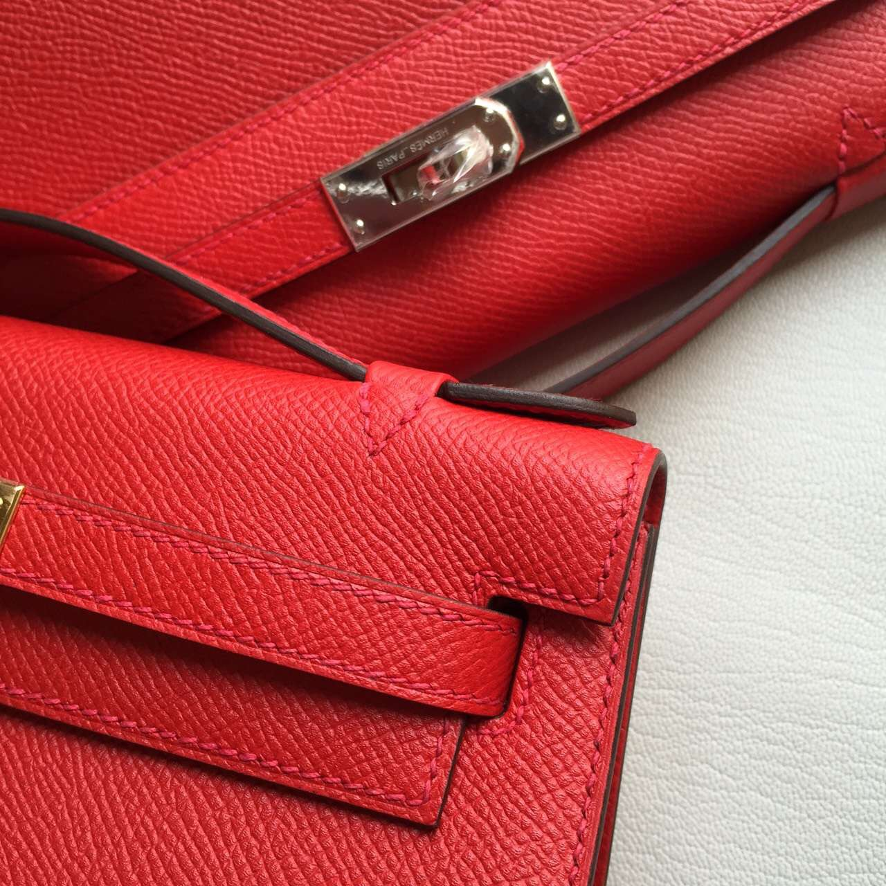 Discount Hermes Q5 Rouge Casaque Epsom Calf Leather Minikelly Clutch Bag 22CM