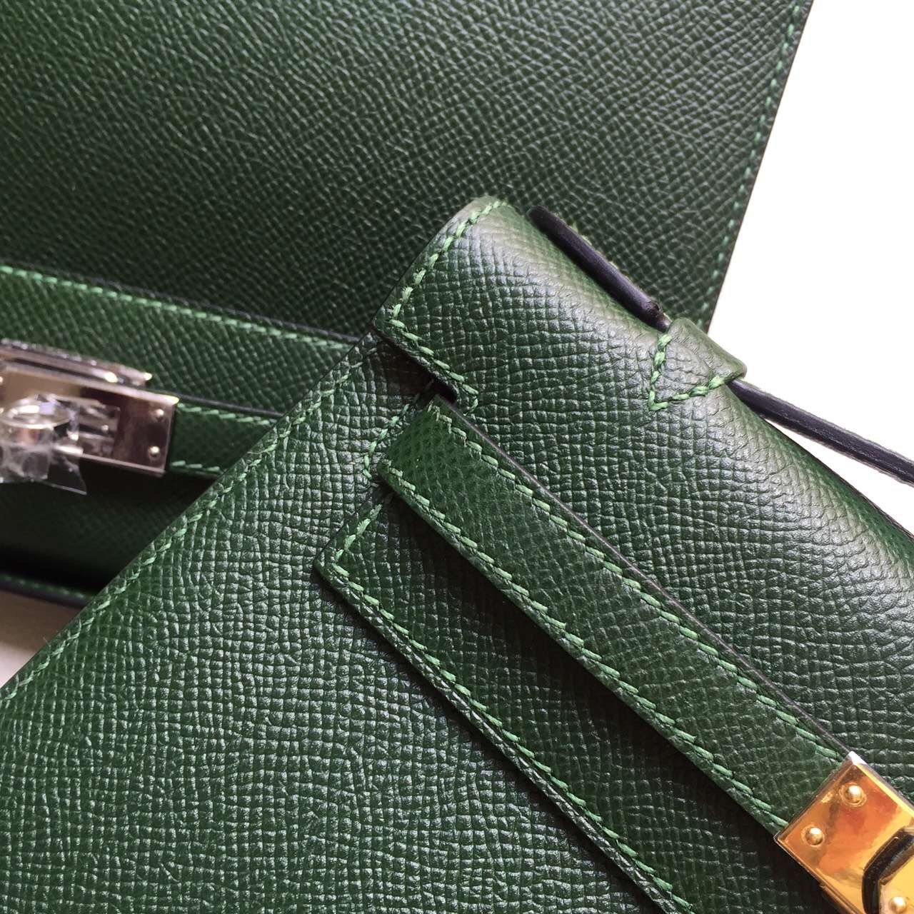 Wholesale Hermes Minikelly Clutch Bag 2Q English Green Epsom Calf Leather