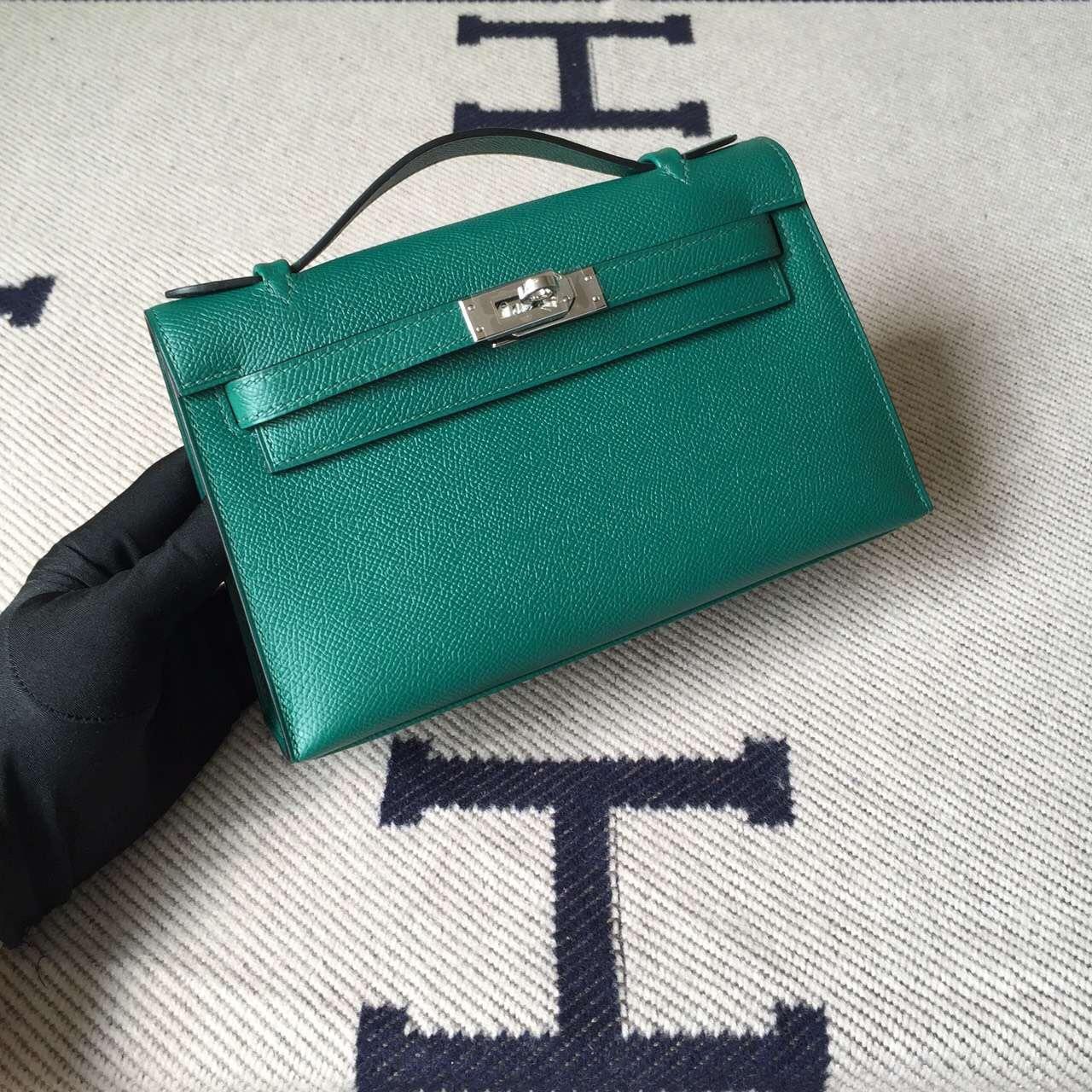 Discount Hermes Minikelly Pochette22CM Bag Z6 Malachite Green Epsom Leather