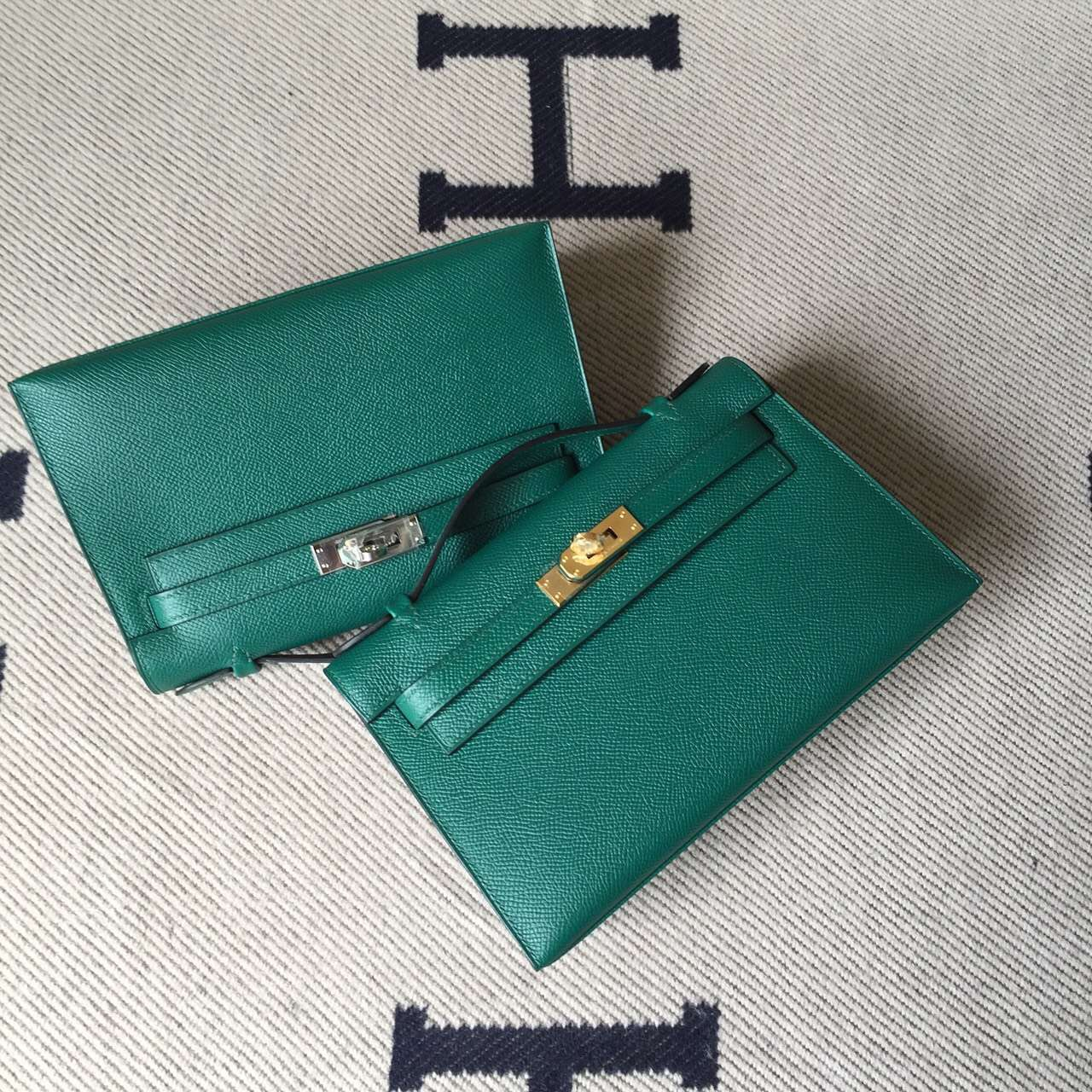 Discount Hermes Minikelly Pochette22CM Bag Z6 Malachite Green Epsom Leather