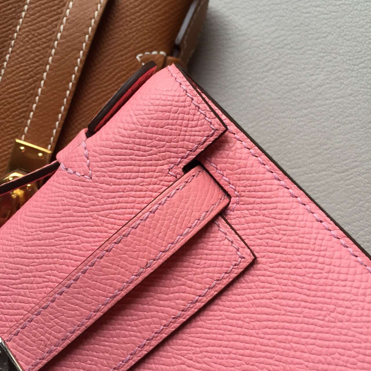 Hand Stitching Hermes Epsom Leather Minikelly Bag22CM 1Q Rose Confetti