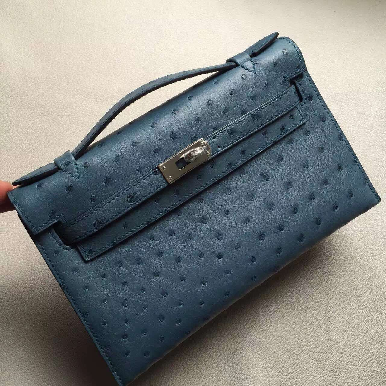 New Arrival Hermes CK75 Blue Jean Ostrich Leather Minikelly Pochette 22CM