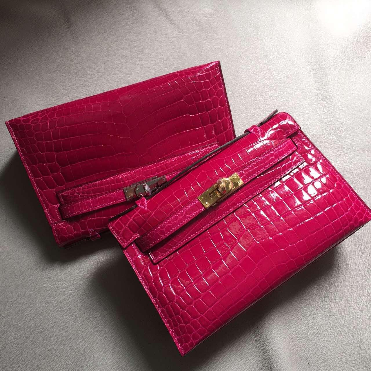 Hermes J5 Rose Scheherazade Crocodile Shiny Leather Minikelly Clutch Bag 22CM