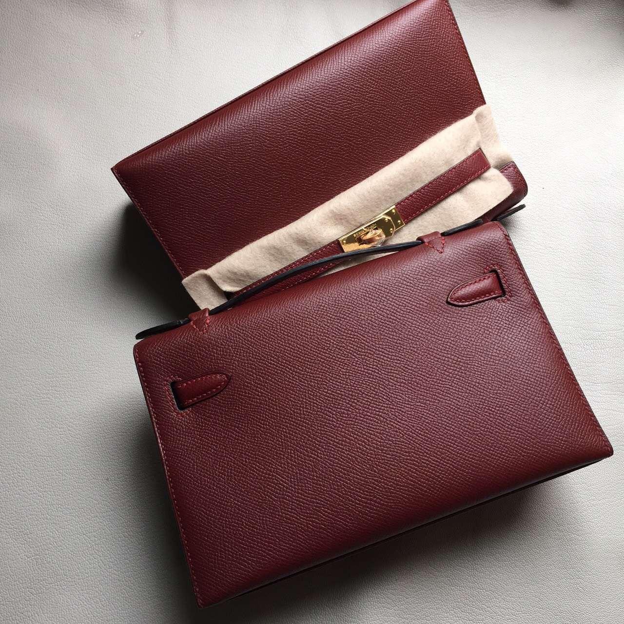 Hand Stitching Hermes Rouge Hermes Epsom Leather Minikelly Pochette 22CM