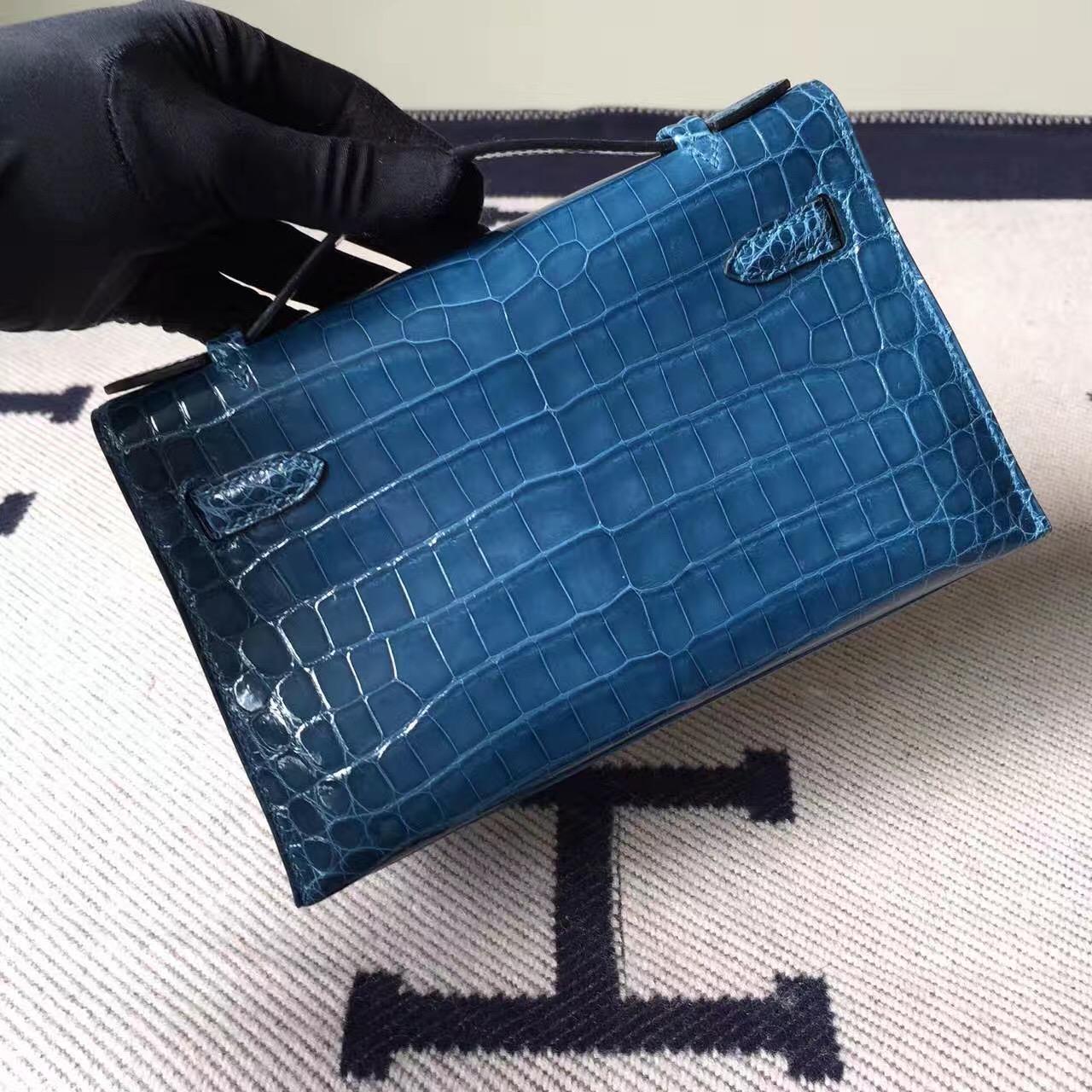 Wholesale Hermes Crocodile Shiny Leather Minikelly Pochette 22CM in 1P Duck Blue