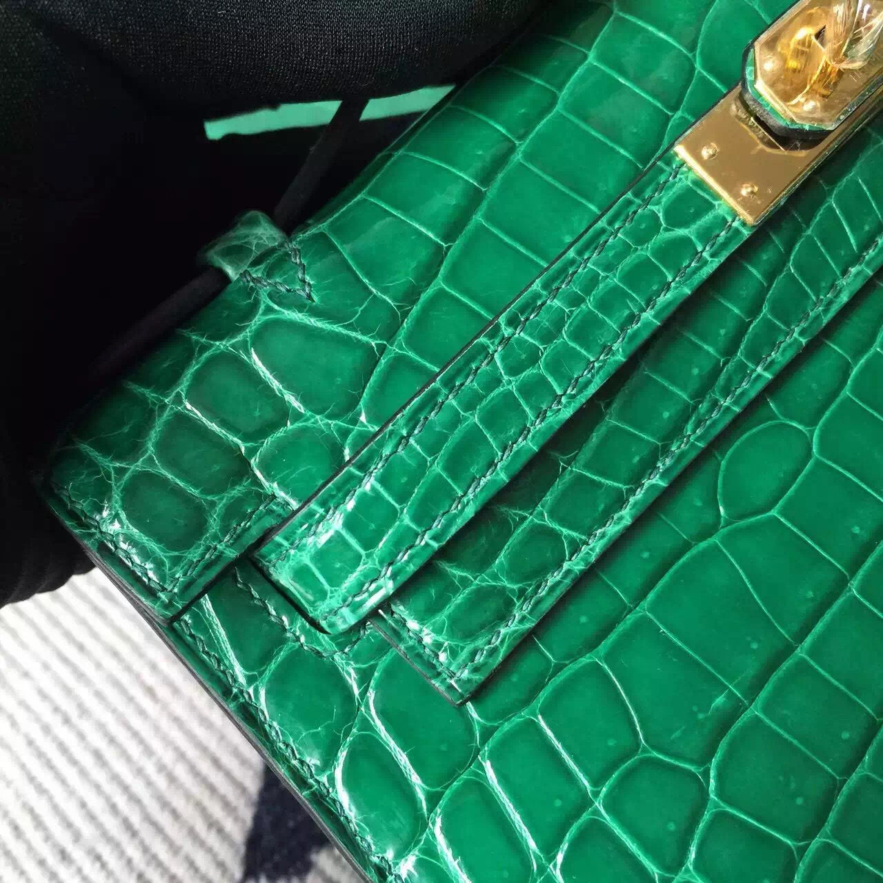Hermes 6Q Emerald Green Crocodile Shiny Leather Minikelly Clutch Bag22cm