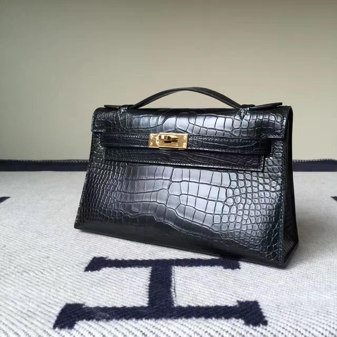 Wholesale Hermes CK89 Black Crocodile Matt Leather Minikelly Clutch Bag 22CM