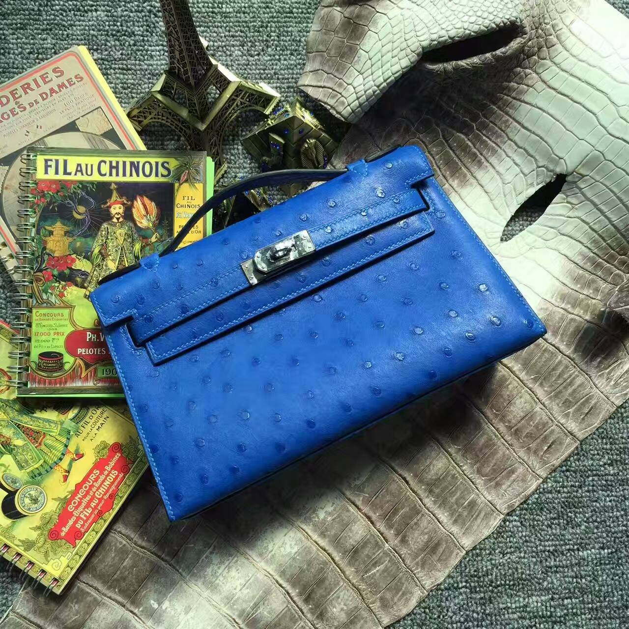 Hand Stitching Hermes 7T Blue Electric KK Ostrich Leather Minikelly Pochette Bag 22CM