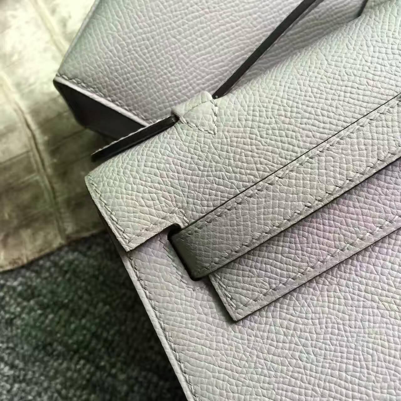 Discount Hermes 8U Blue Glacier Epsom Calfskin Leather Minikelly Clutch Bag 22CM