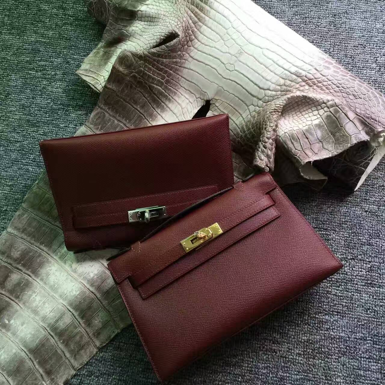 Discount Hermes Minikelly Pochette 22CM in CK55 Rouge Hermes Epsom Leather