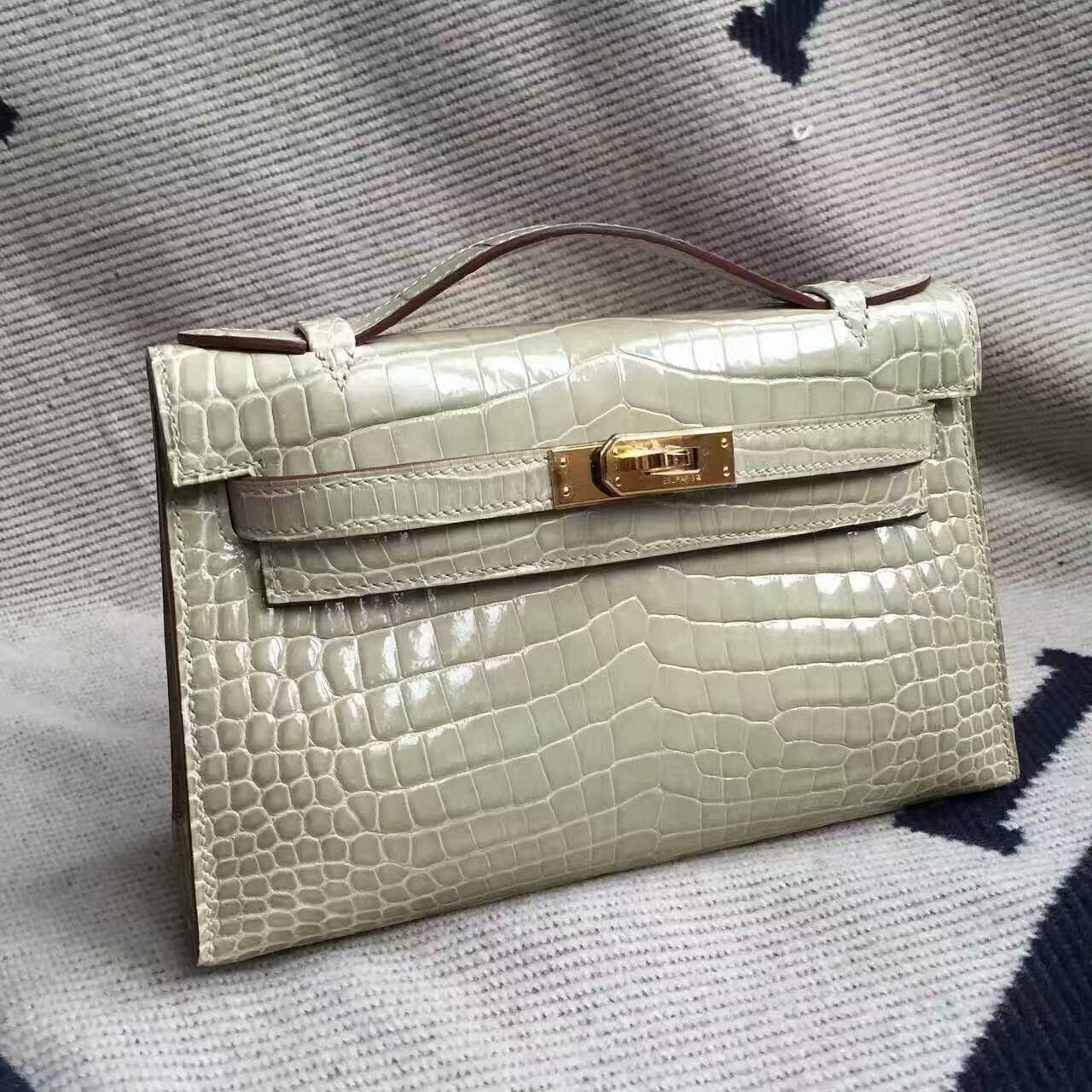 Discount Hermes Gris Tourterelle Crocodile Shiny Leather Minikelly Clutch Bag22cm