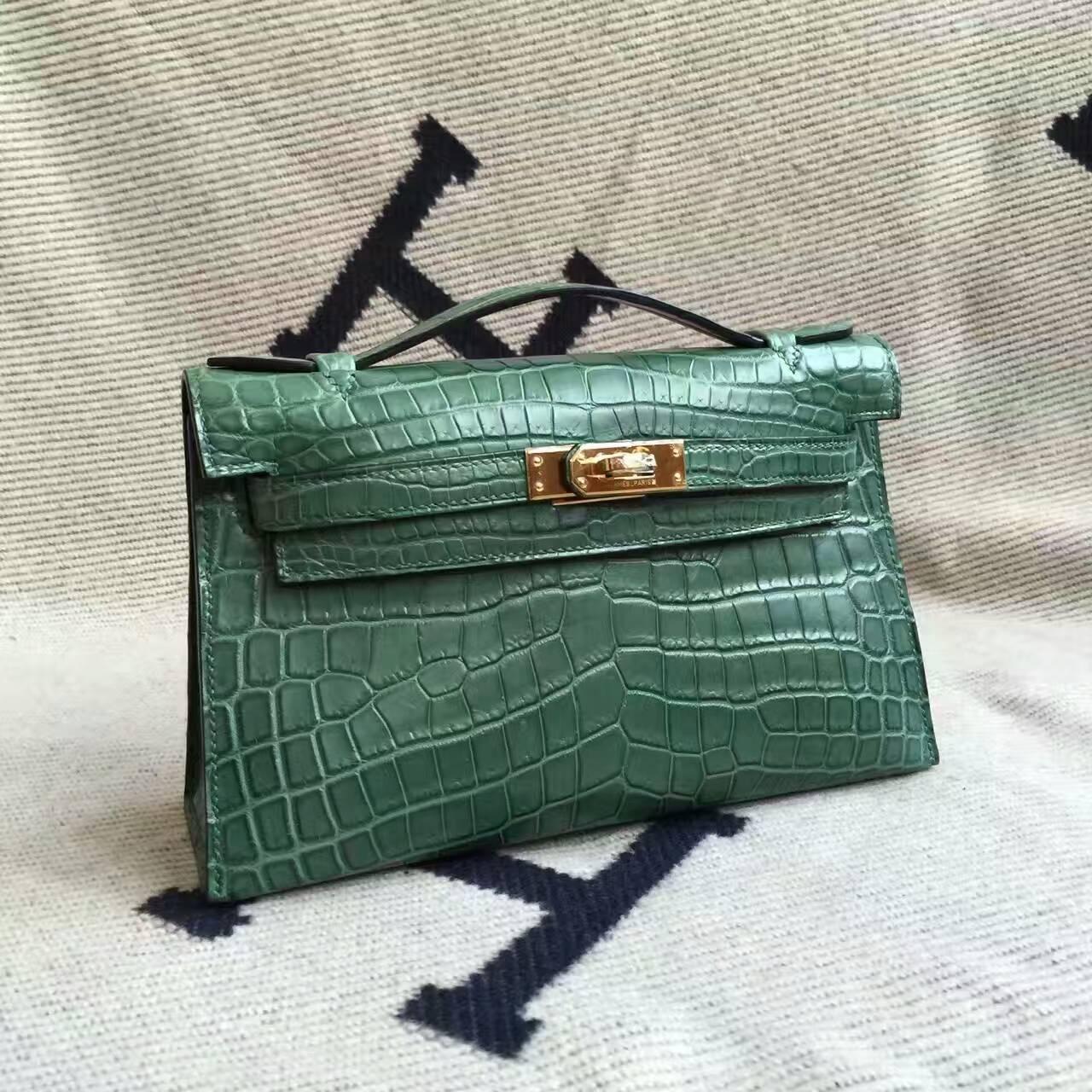 Hot Sale Hermes Malachite Green Crocodile Matt Leather Minikelly Pochette 22CM