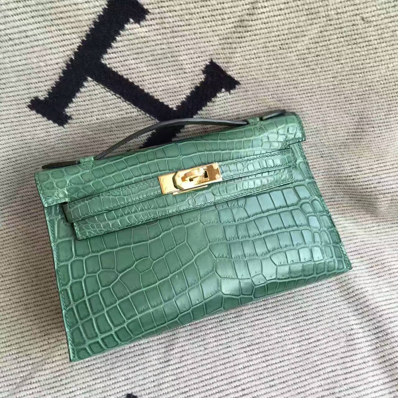 Hot Sale Hermes Malachite Green Crocodile Matt Leather Minikelly Pochette 22CM