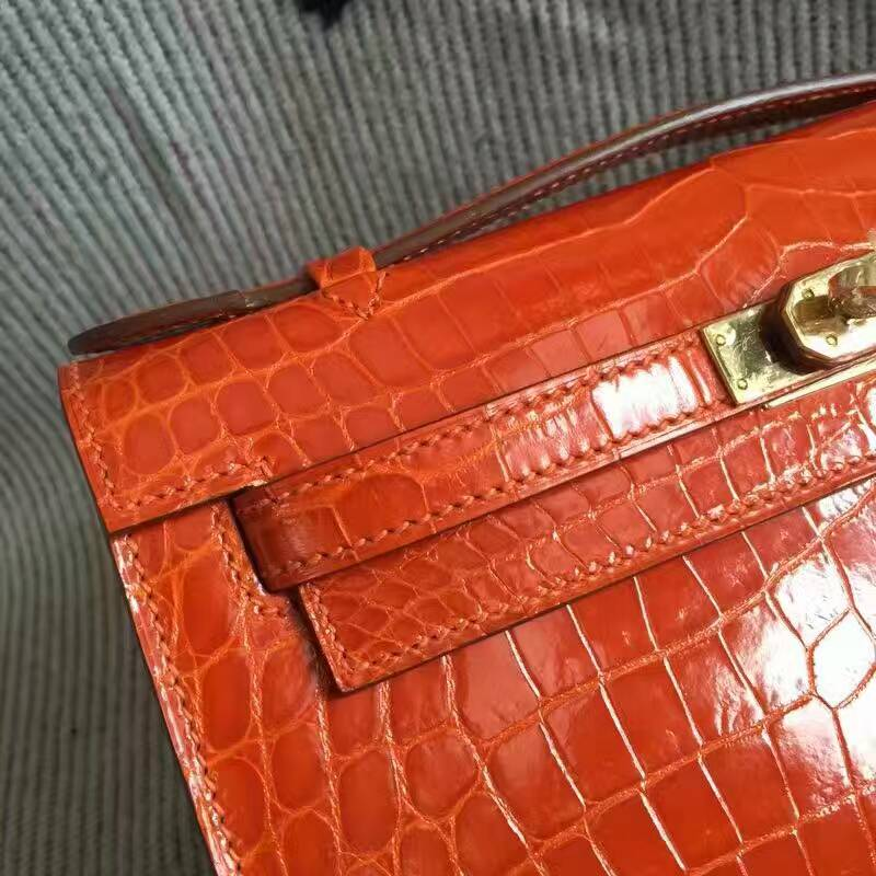 Discount Hermes Orange Crocodile Shiny Leather Minikelly Clutch Bag 22CM