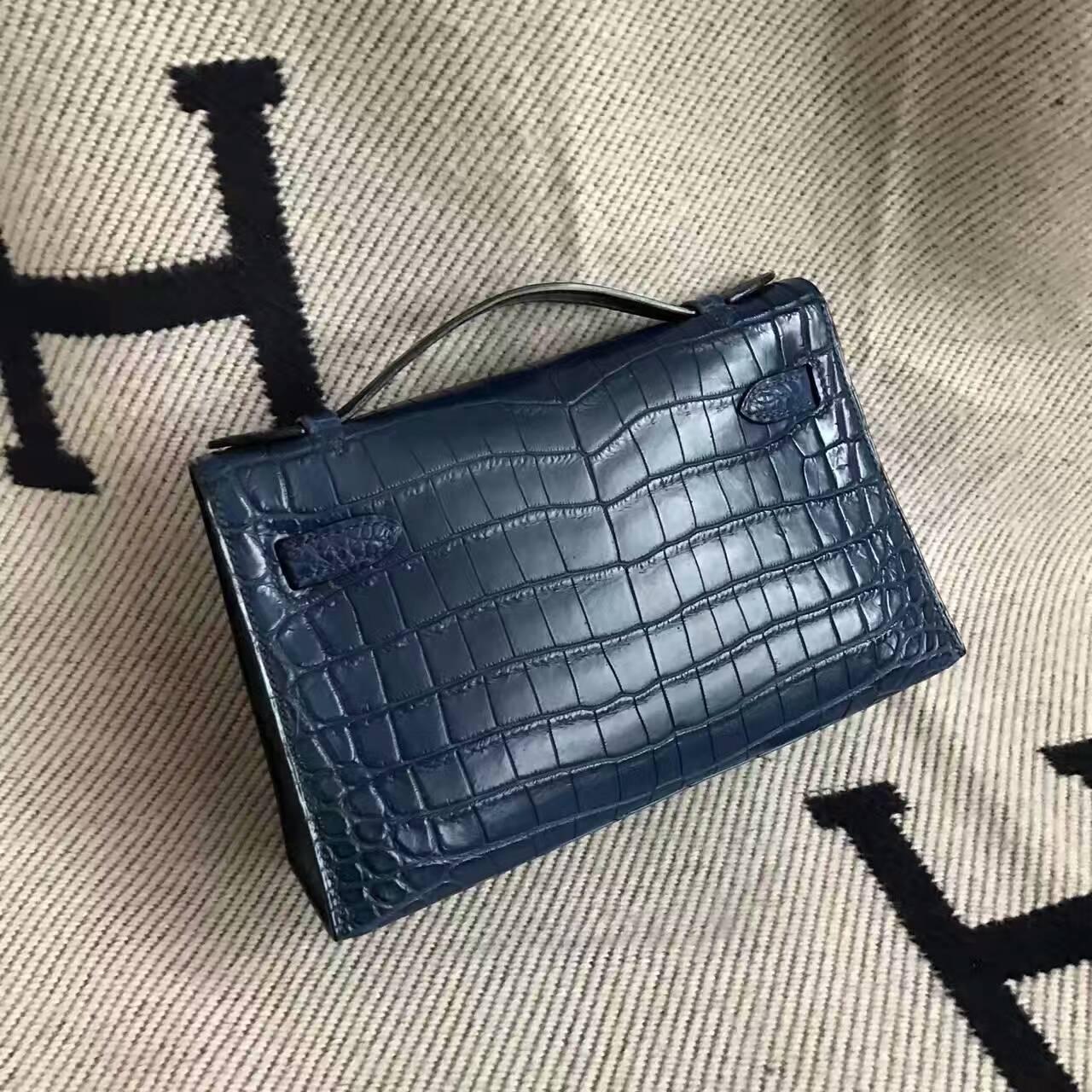 High Quality Hermes Crocodile Matt Leather Minikelly22cm Handbag in 73 Blue Saphir