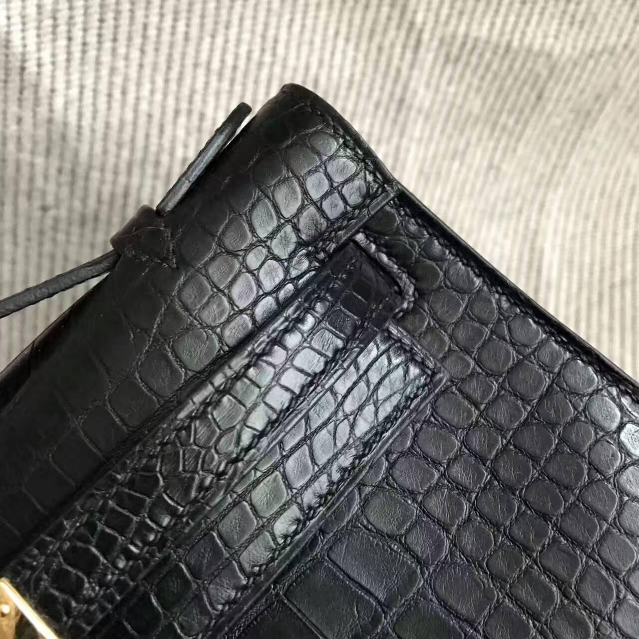 Wholesale Hermes CK89 Black Crocodile Matt Leather Minikelly Pochette Clutch22CM