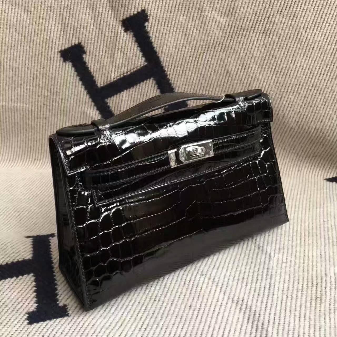 Discount Hermes CK89 Black Crocodile Shiny Leather Minikelly Clutch Bag22cm