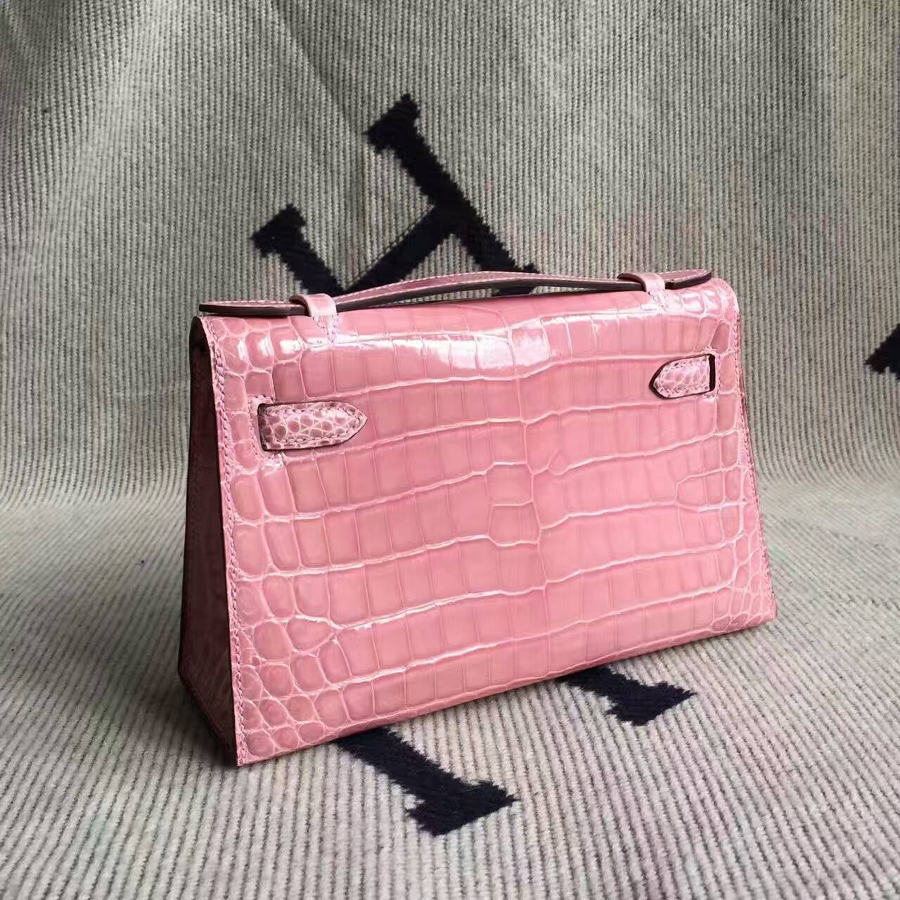 Discount Hermes 5Z Rose Indienne Crocodile Shiny Leather Minikelly Clutch Bag 22CM