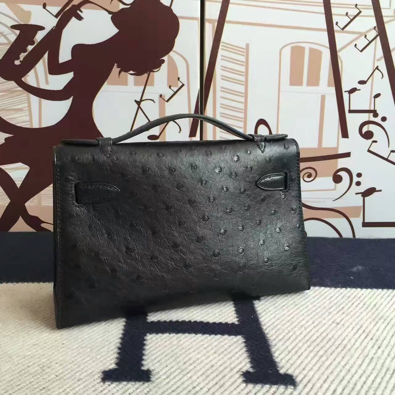 Discount Hermes Minikelly Clutch Bag in CK89 Black Ostrich Leather